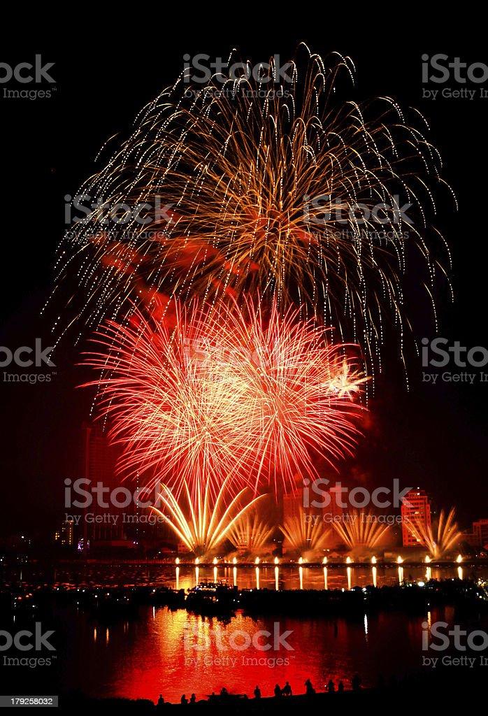 Fireworks Danang Vietnam stock photo
