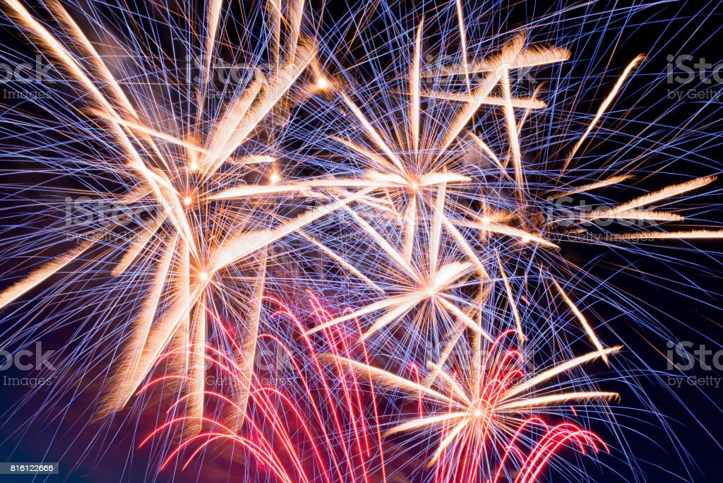 Fireworks details in a summer night stock photo