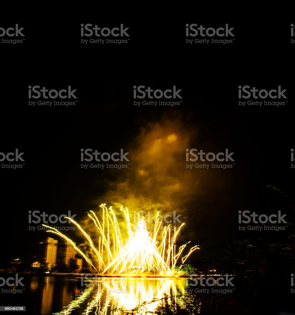 A fireworks display against the night sky. New year 2019 stock photo