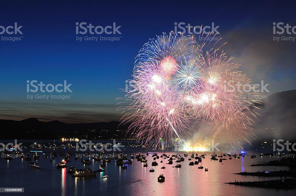 fireworks display at English Bay stock photo