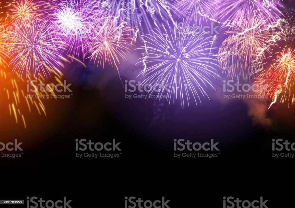 Fireworks Display Background stock photo