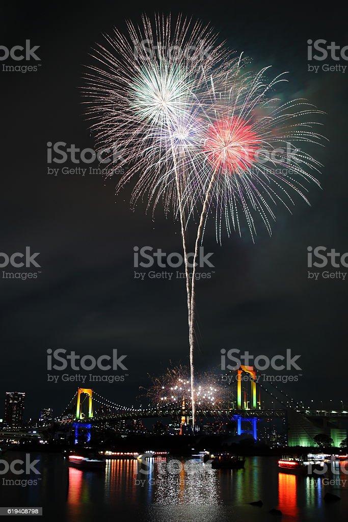 Fireworks Display Festival in Tokyo Bay, Japan stock photo
