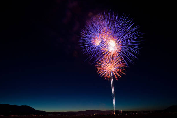 Fireworks Display for the Fourth of July in California stock photo