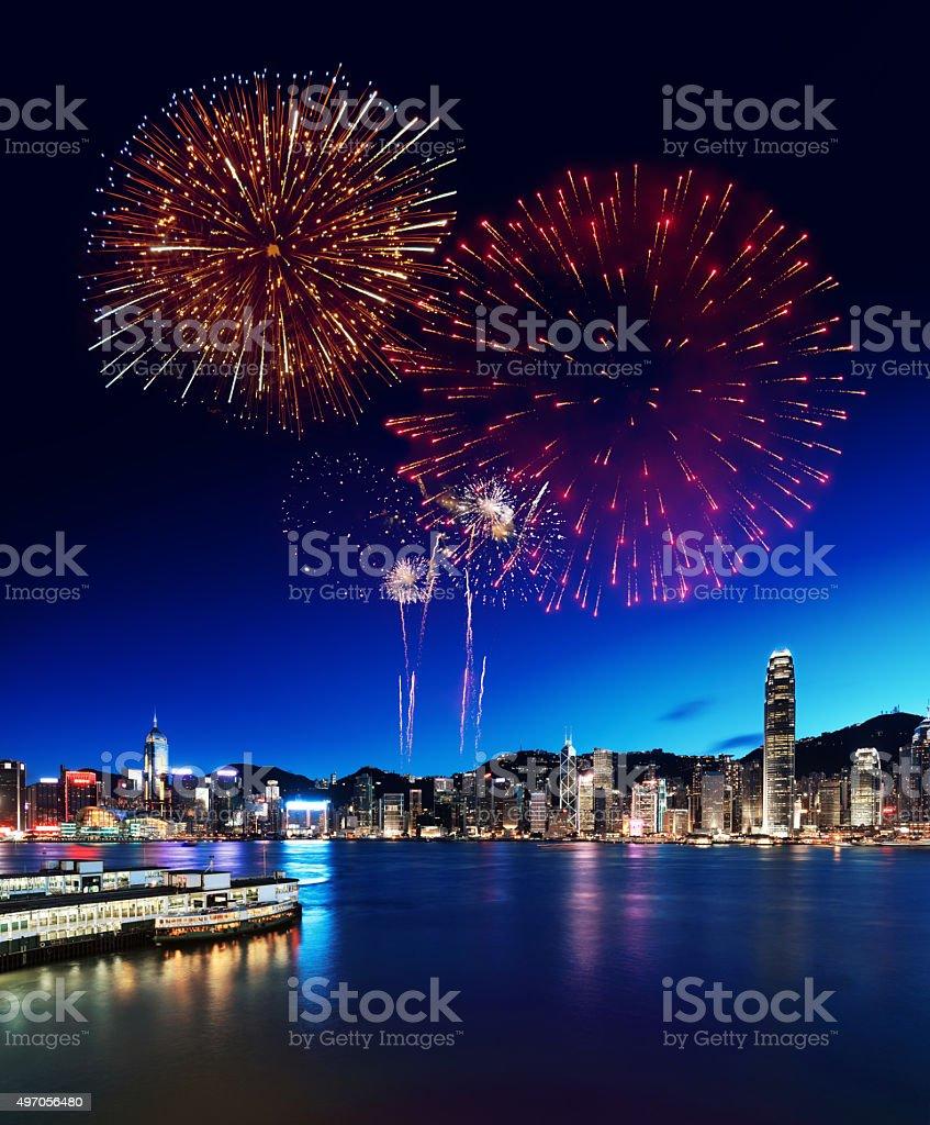 Fireworks Display in Hong Kong stock photo