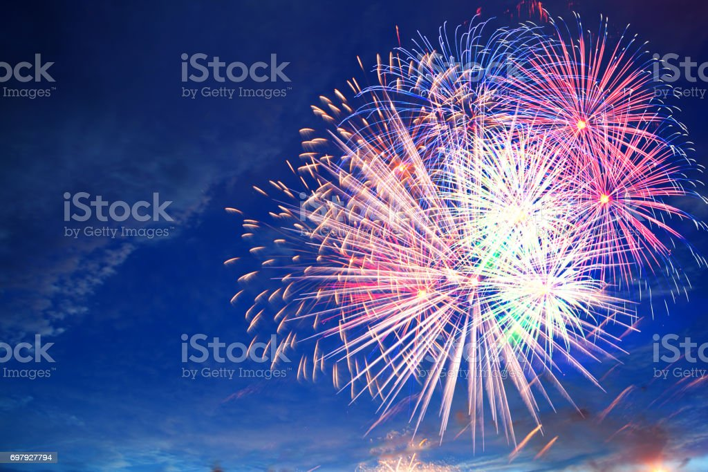 Fireworks display on 4th of July stock photo