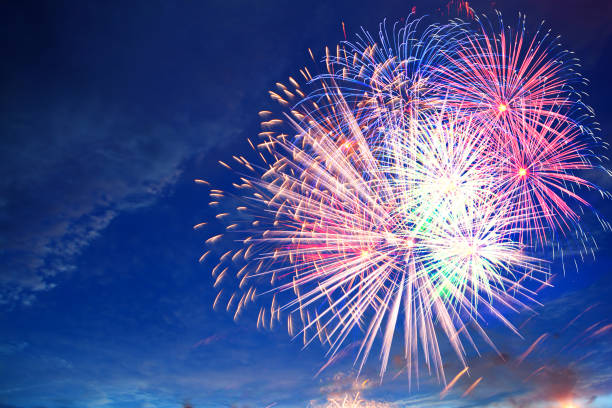 fireworks display on 4th of july - new year day stock photos and pictures