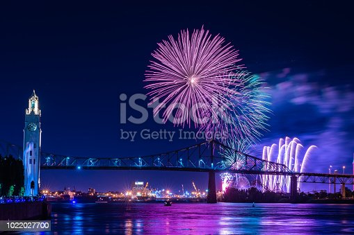 istock Fireworks display over a bridge 1022027700