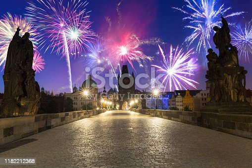 istock Fireworks display over the Charles bridge in Prague 1182212368