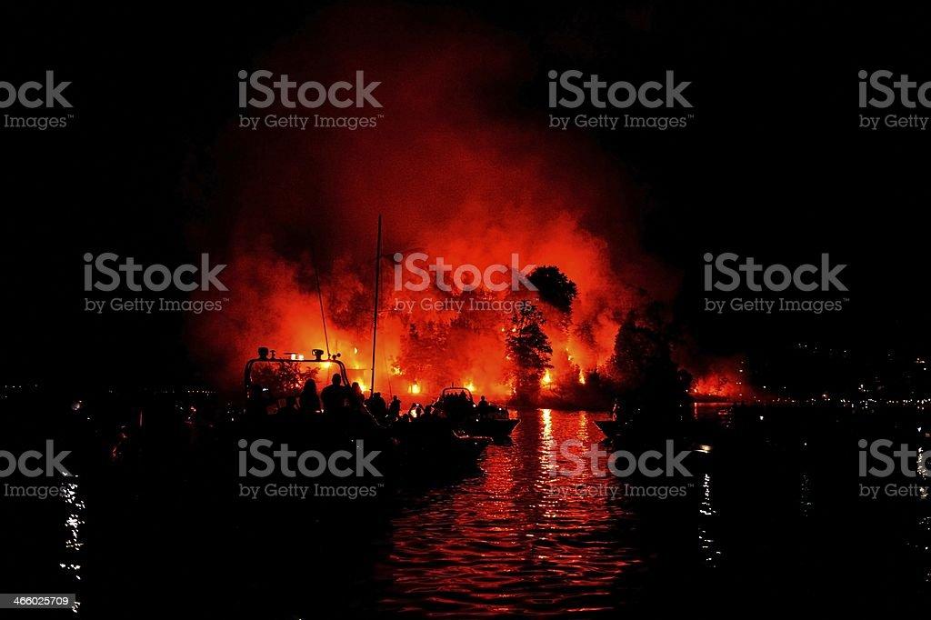 Fireworks during Saint John's Festival in Comacina Island royalty-free stock photo