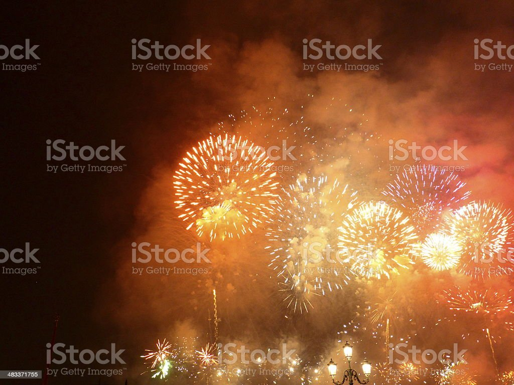 Fireworks during the Festival of the Redeemer in Venice stock photo