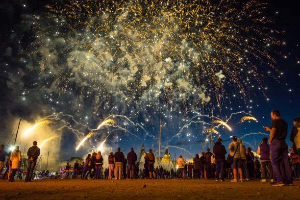 SZCZECIN, POLAND - JUNE 2016: Fireworks during the Sea Days 2016 in Szczecin, Poland – zdjęcie