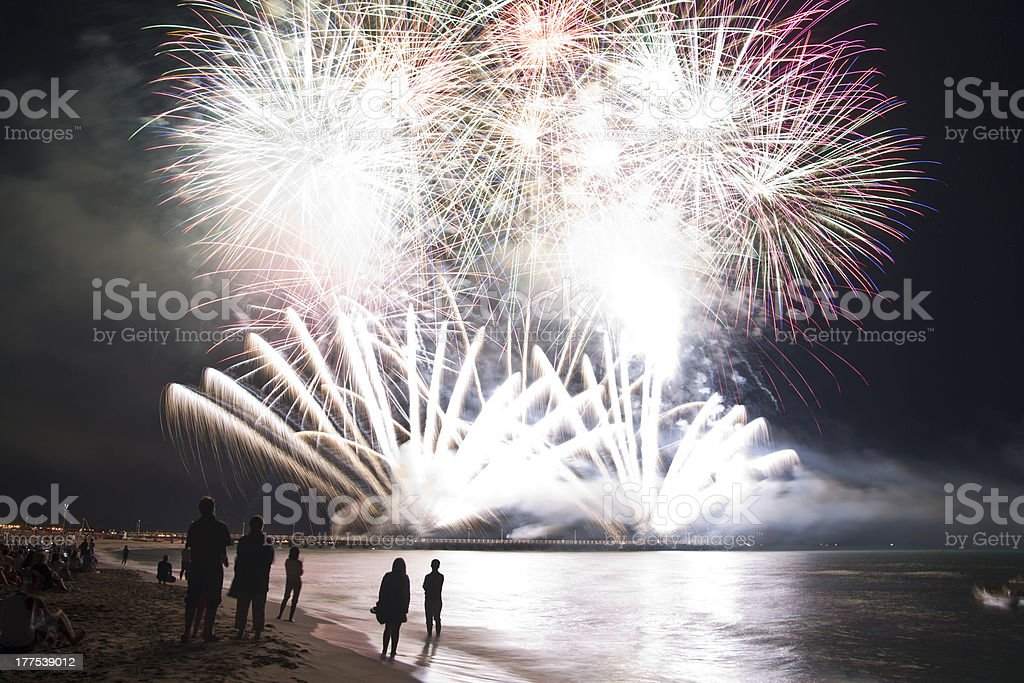 Fireworks exploding ar shoreline of Forte dei Marmi, Italy stock photo