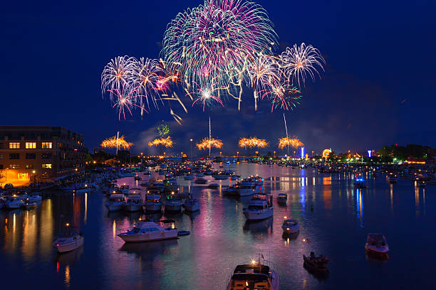 Fireworks Explosion over Water