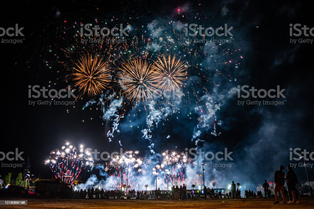 SZCZECIN, POLAND - AUGUST 2018: Fireworks festival during Pyromagic 2018 (International Pyrotechnic Show) in Szczecin, Poland – zdjęcie