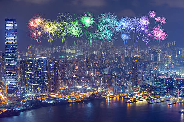 Fireworks Festival over Hong Kong city at night – Foto