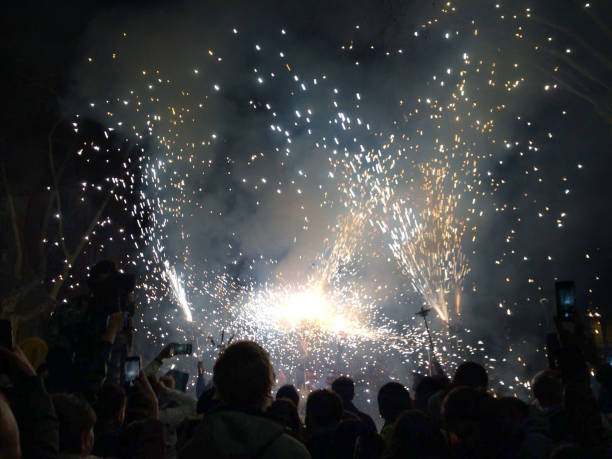 fireworks. festival spain - petard stock photos and pictures