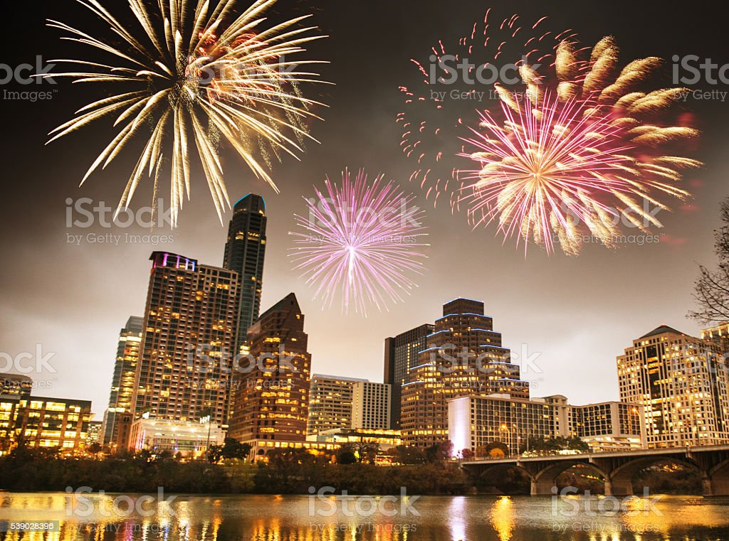 fireworks for a national holiday in Austin - Texas stock photo