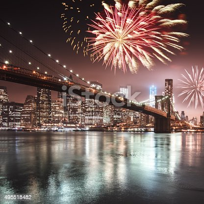 525385459 istock photo fireworks for a national holiday over the brooklyn bridge 495518482