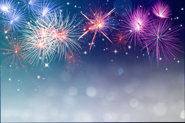 fireworks for copyspace and background - happy 4th of july stock pictures, royalty-free photos & images