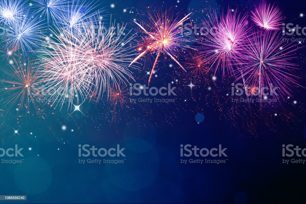 Fireworks for copyspace and background Abstract fireworks celebration on festive bokeh light background. Fireworks for copyspace and background Backgrounds Stock Photo