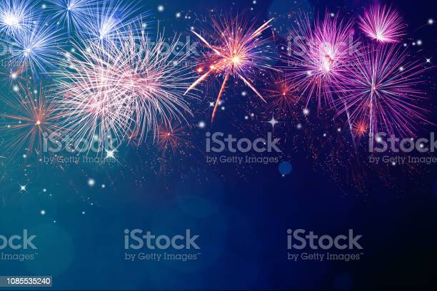 Photo of Fireworks for copyspace and background
