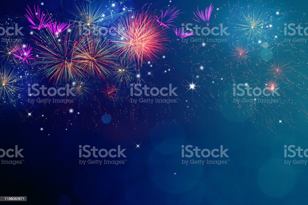 Fireworks for copyspace and background Abstract fireworks celebration on festive bokeh light background. Fireworks for copy space and background Backgrounds Stock Photo