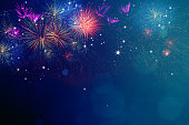 Abstract fireworks celebration on festive bokeh light background. Fireworks for copy space and background