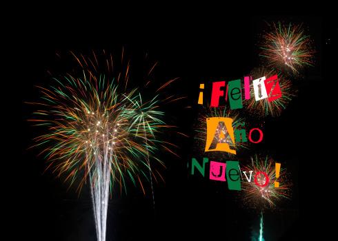 Fireworks for Feliz Año Nuevo Happy New Year 2014