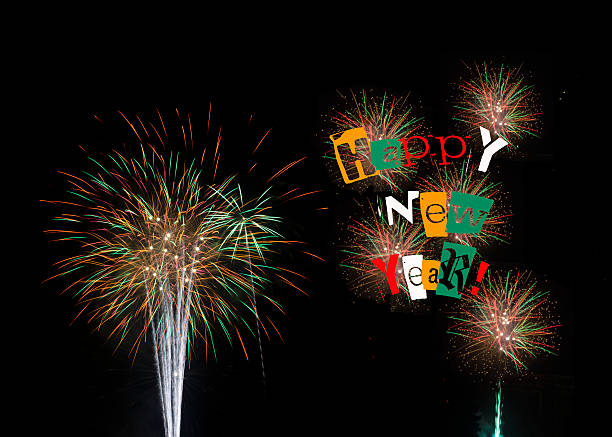 Fireworks for Happy New Year 2014 stock photo