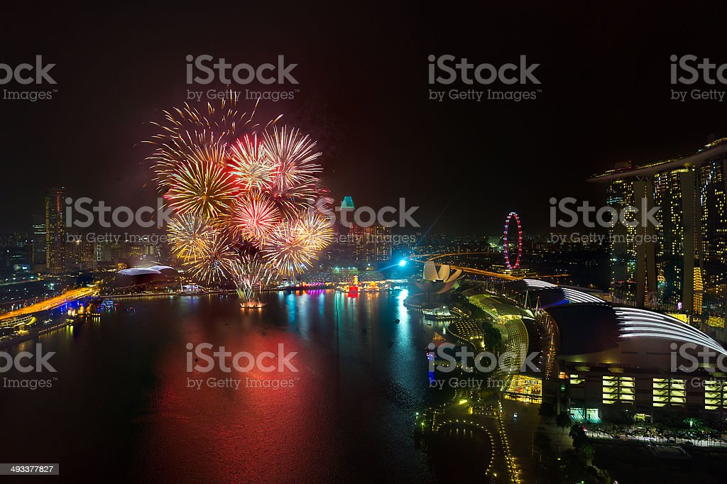 Fireworks for New Year in SIngapore royalty-free stock photo