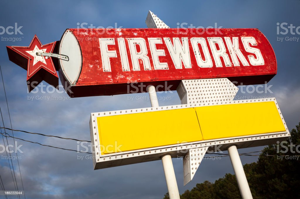 Fireworks for sale sign royalty-free stock photo