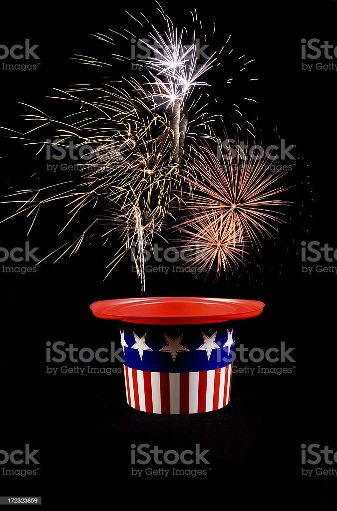 Fireworks from the hat royalty-free stock photo
