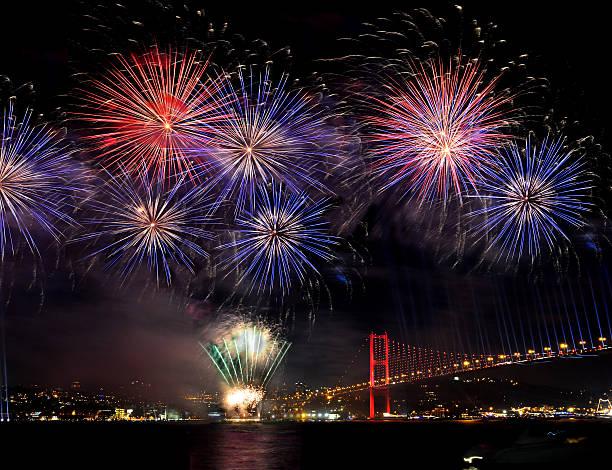 Fireworks Group on bosphorus bridge Firework Display, Firework - Man Made Object, New Year's Eve, Backgrounds, New Year's Day, bosphorus bridge, istanbul, turkiye, turkey new years day stock pictures, royalty-free photos & images