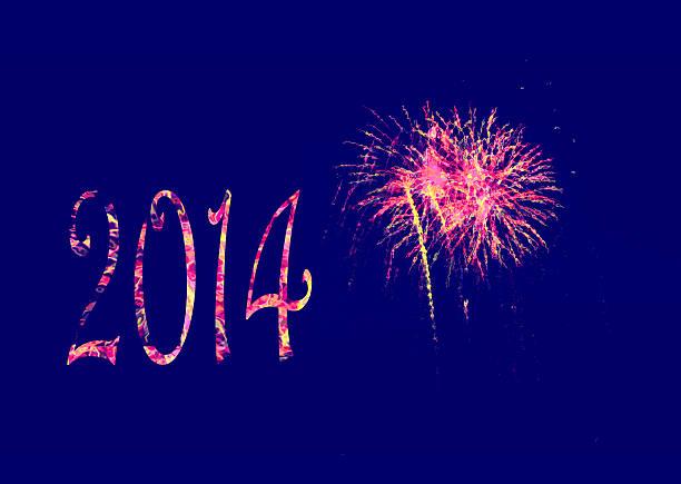 Fireworks Happy New Year 2014 stock photo