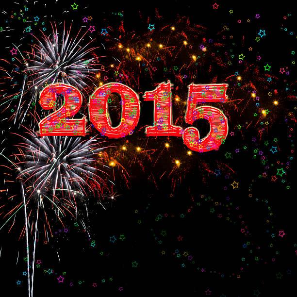Fireworks Happy New Year 2015 stock photo