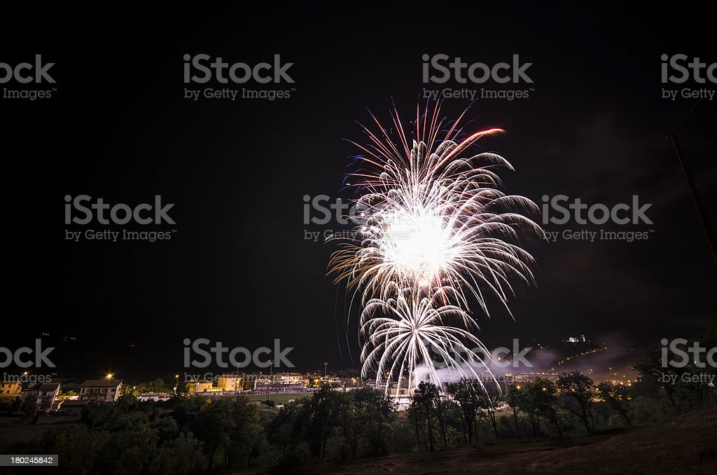 fireworks in a beatiful landscape stock photo