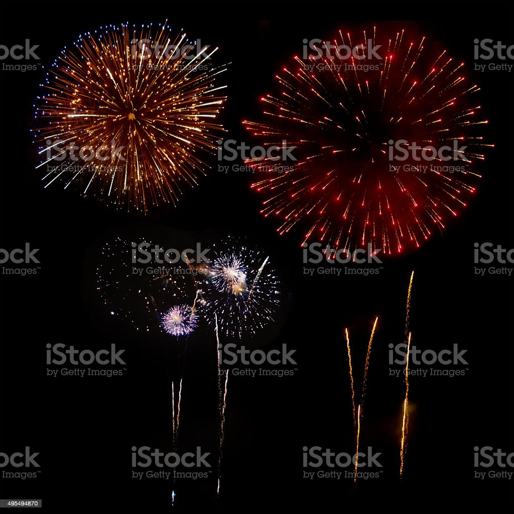 Fireworks in a black background stock photo