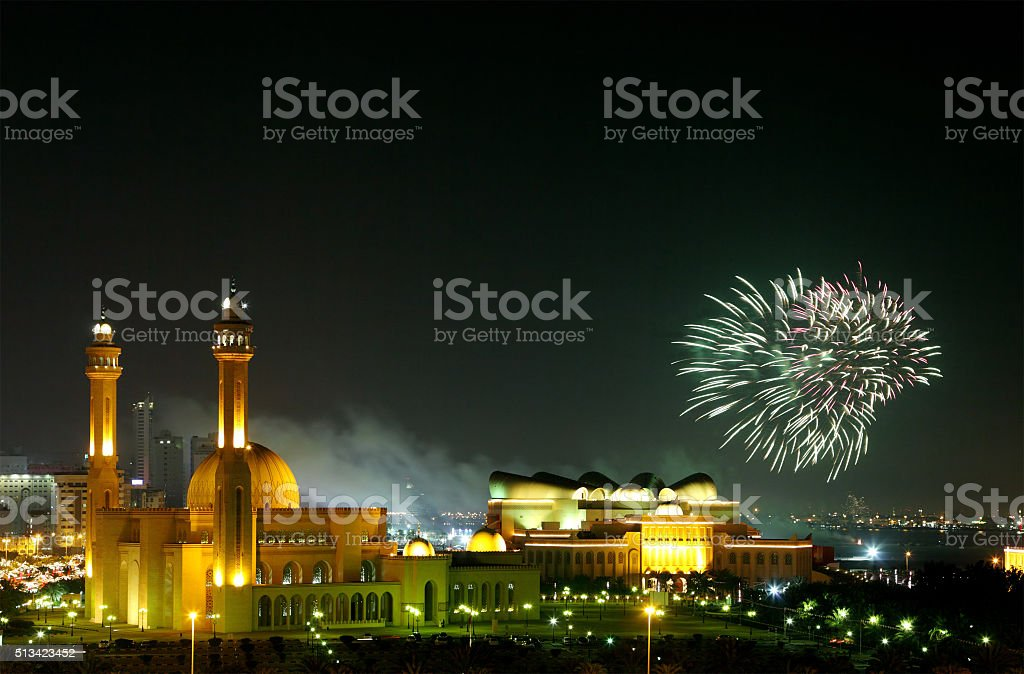 Fireworks in Al Fateh Corniche stock photo