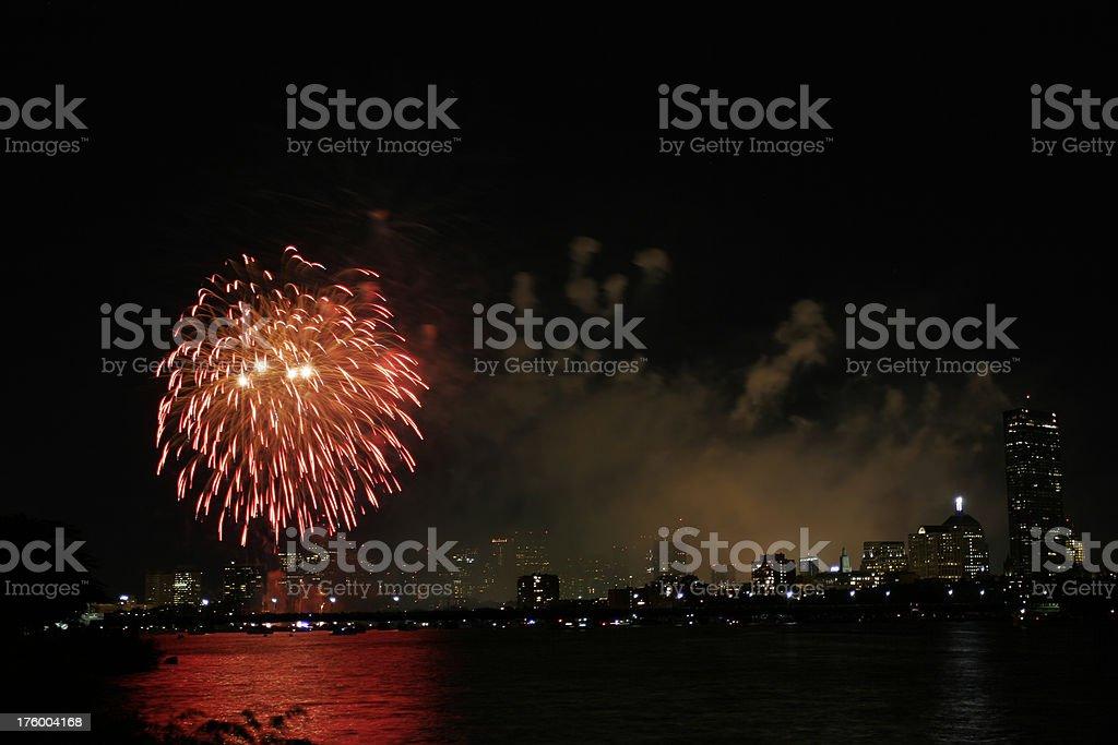 Fireworks in Boston royalty-free stock photo