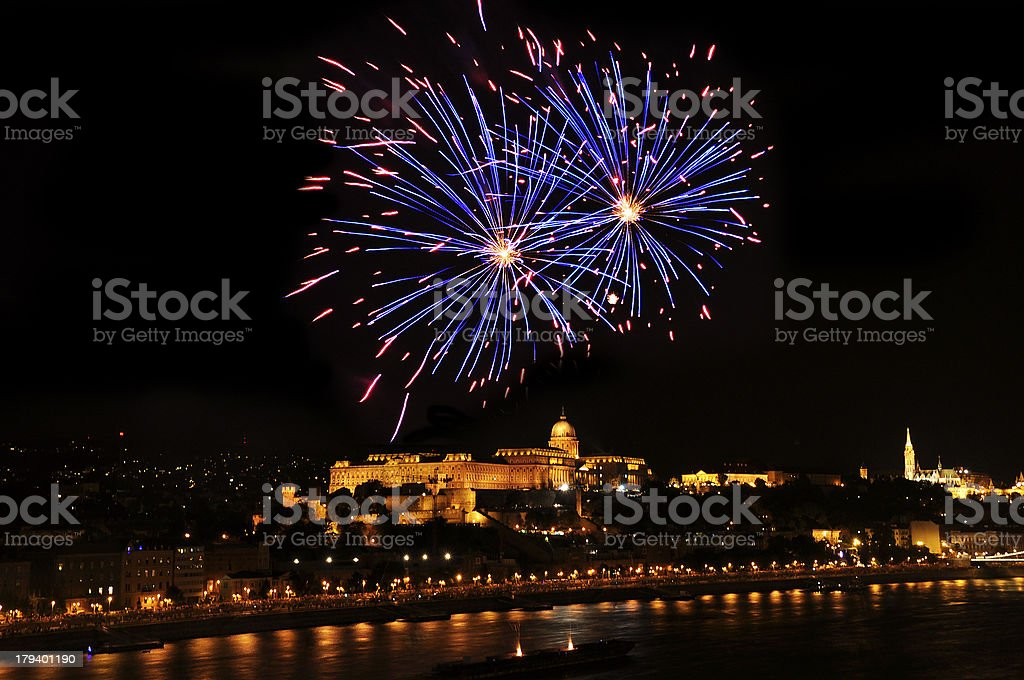 Fireworks in Budapest stock photo