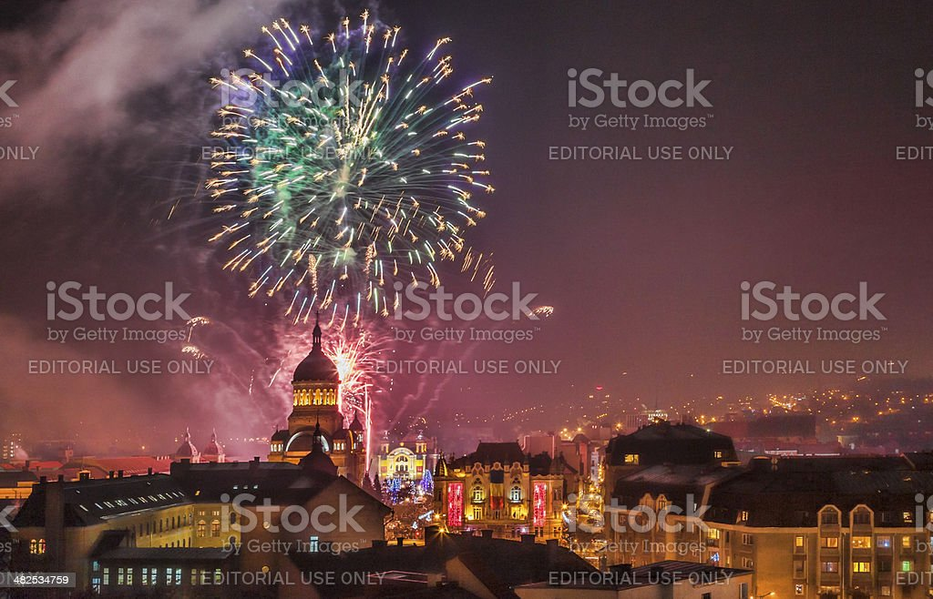 Fireworks in Cluj Napoca royalty-free stock photo