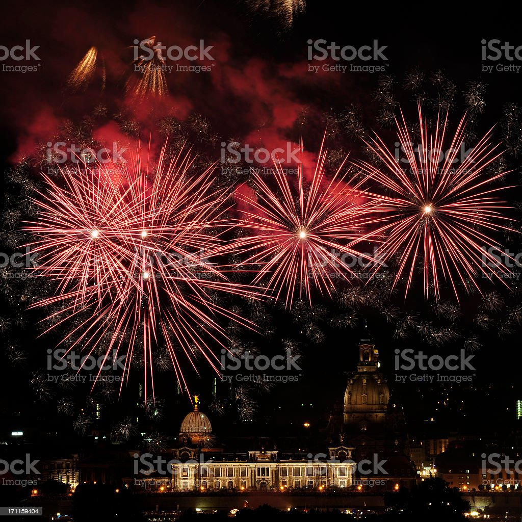 Fireworks in Dresden, Germany, city festival stock photo