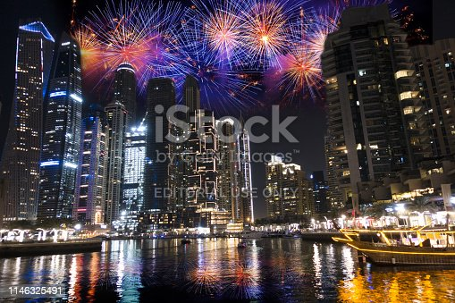 Fireworks in Dubai Marina on the New Year's Eve night, famous place for holiday