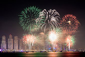 The 45th UAE National Day celebration fireworks in Dubai Marina. United Arab Emirates, Middle East