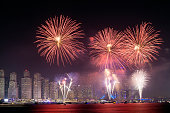 Tha 45th UAE National Day celebration fireworks in Dubai Marina. United Arab Emirates, Middle East
