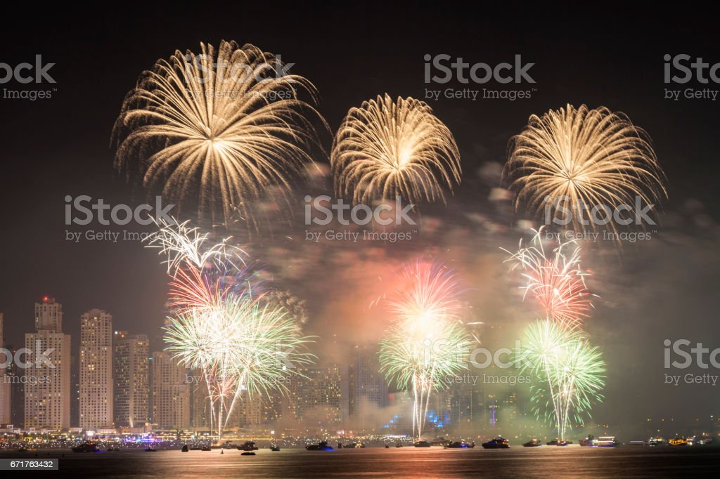 Fireworks in Dubai, UAE stock photo