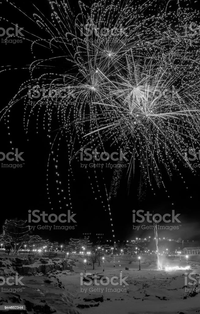 Fireworks in Falls Park, Sioux Falls, South Dakota for New Years stock photo