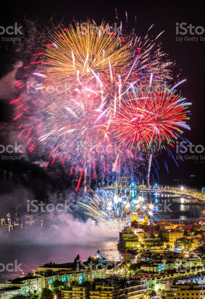 Fireworks in Fiesta mayor of Sitges 2018 stock photo