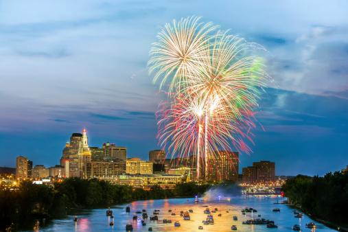 4th of July celebration in Hartford CT, fireworks at twilight.
