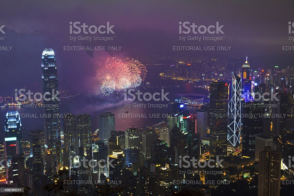Fireworks in Hong Kong, China royalty-free stock photo